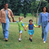 Family of four walking in park