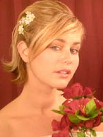 SpOccHair_Blond hair bangs side half up with flowers