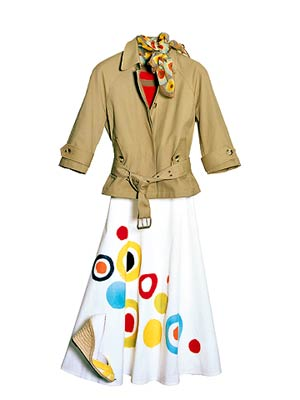 FullFigure_White skirt with bold circle pattern brown jacket