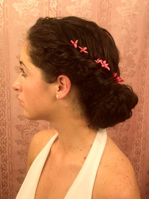 SpOccHair_Black hair twist around head flowers side