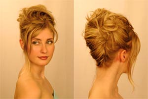 Dark blond hair up front and side view