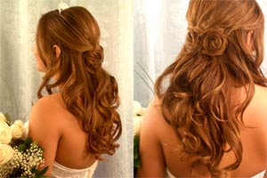 Long curly brown hair side and back view