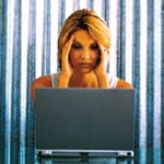 Stressed Woman At Laptop
