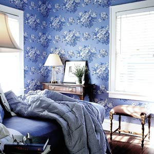 Blue Bedroom with flower wallpaper