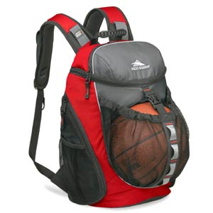 Clarus Red and Black Backpack With Basketball Holder