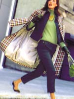 fashion feature_posterized image of woman with plaid jacket over back and green shirt