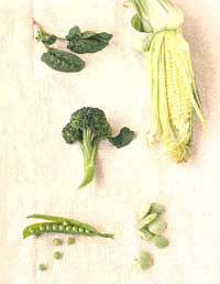 Broccoli, Corn, Peas