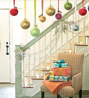 Holiday bulbs hanging by stairs