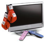 boxing gloves and TV
