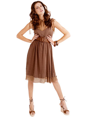 woman wearing brown dress with brown belt
