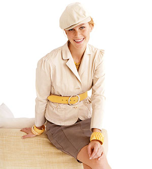 woman wearing jacket with yellow belt