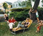 family on lawn