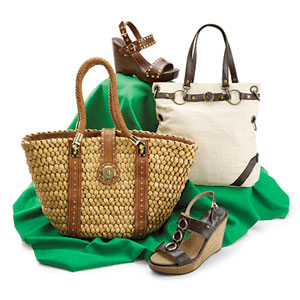Spring Forward, wooden wedges and leather-trim totes