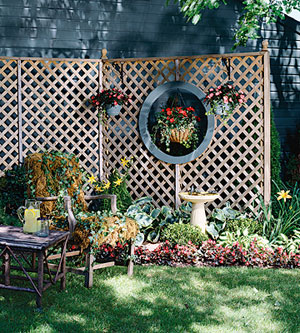 garden with wooden lattice fence