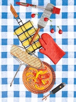grilling instruments on checkered tablecloth