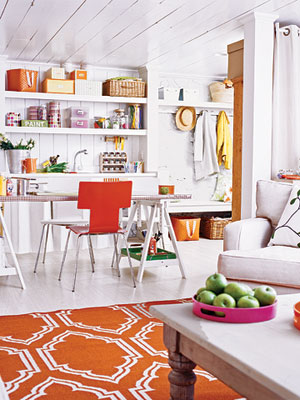 Basement, After, Kitchen Area with Orange Chair