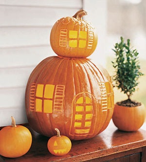 two stacked pumpkins with windows