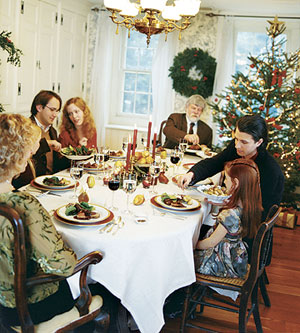 Family at Christmas dinner table
