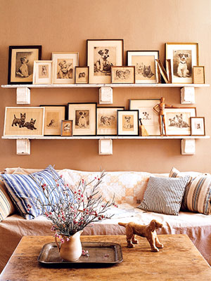 framed prints over couch