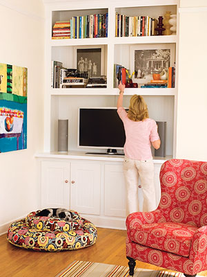 Nook with built-in shelves