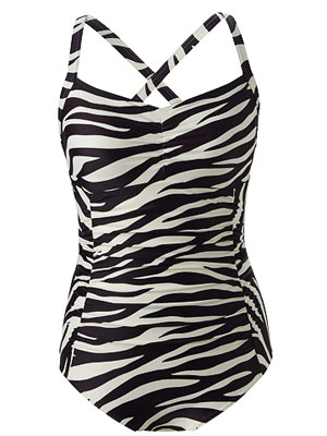 Lands' End Ruched Princess Seam Print Tank Swimsuit