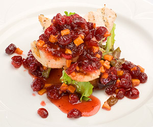 Chicken Tenderloins with Cranberry Peach Compote