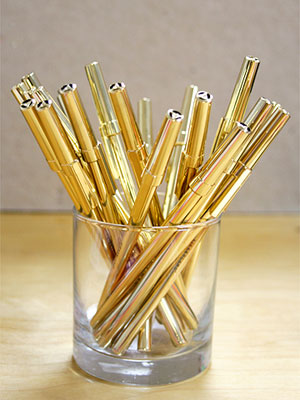 Solid Gold Pen Set in cup