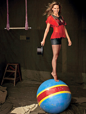 Hillary Swank standing on ball