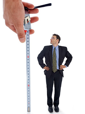 man and measuring tape