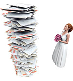 pile of debt notices and bride