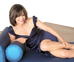 Sally Field in blue dress on couch