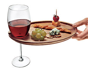Appetizer tray with wineglass holder