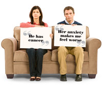 Couple on sofa with signs