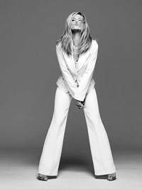 Heidi Klum in white suit in b/w