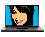 Woman?s face on laptop