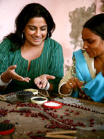 Priya Haji and bead artist