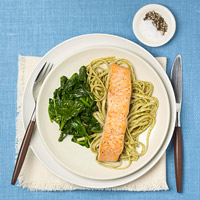 Salmon and pasta dinner