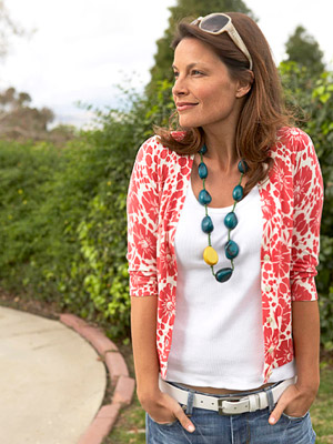 Model in flower cardigan