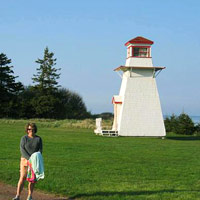 Standing in front of lighthouse