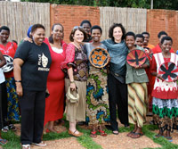 Willa Shalit with Rwandan weavers