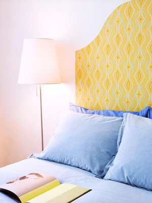 wallpapered headboard