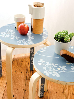 wallpapered tables