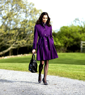 model in purple coat