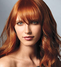 Model with bangs
