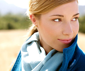 Model with blue scarf
