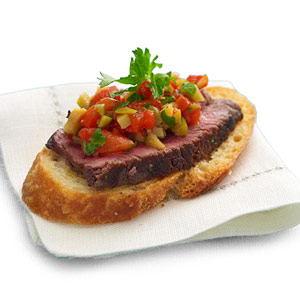Beef Fillet and  Pepper-Olive Relish