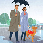 Walking in the rain illustration
