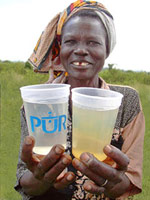 Woman with water glasses