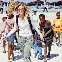 Maria Bello with kids