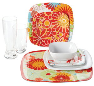 Orange Floral Plastic Plates